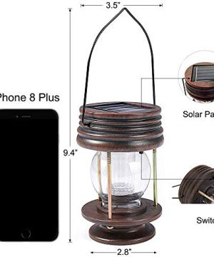 Pearlstar Hanging Solar Lights Outdoor Garden Lights LED Retro Solar Lanterns With Handle For Pathway Yard Patio Decoration Table Lamp Lights2 Pack Warm Lights 0 300x360