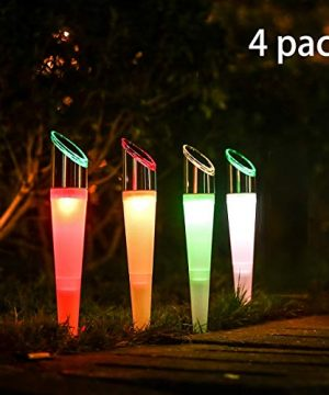 Pearlstar Solar Lights Outdoor Garden Pathway Lights LED Landscape Lighting Waterproof For Path Lawn Patio Yard Walkway Driveway4 LED Bulbs 2 Lights EffectWhiteColor Changing Lights 4pack 0 300x360