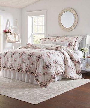 2 Piece Cottage Charming Floral Comforter Set All Season Beautiful Classic Flowers Roses Botanical Leafs Print Shabby Chic Farmhouse Bedding Reversible Ruffled Edges Cotton Pink Comforter Twin 0 300x360
