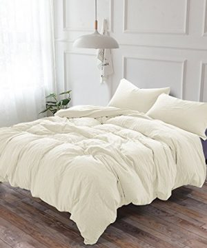 2 Piece Duvet Cover Twin 100 Washed Microfiber Duvet Cover Ultra Soft Luxury Natural Wrinkled Look Bedding Set Twin Ivory 0 300x360