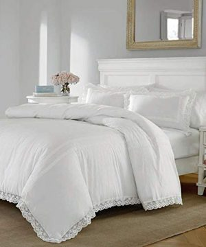 2 Piece Farmhouse Comforter Set Twin French Country Contemporary Elegant Solid Color White Bedding Lace Style Trim In Crisp White Adds A Classic Touch Soft Cozy Comfy Cotton Fabric 0 300x360