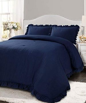 2 Piece Farmhouse Comforter Set Twin XL French Country Shabby Chic Border Ruffled Solid Color Navy Bedding Plush Soft Cozy Comfy Microfiber 0 300x360