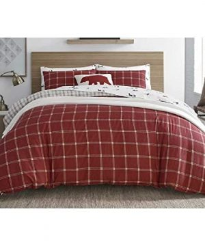 2 Pieces Cabin Lodge Farmhouse Comforter Set Twin Plush Soft Cozy Squares Pattern Checkered Rustic Bedding Flannel Weave Accent Classic Village White Grid Plaid Reversible Brown Red Comforter 0 0 300x360