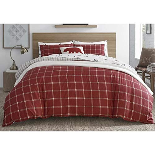 2 Pieces Cabin Lodge Farmhouse Comforter Set Twin Plush Soft Cozy Squares Pattern Checkered Rustic Bedding Flannel Weave Accent Classic Village White Grid Plaid Reversible Brown Red Comforter 0 0