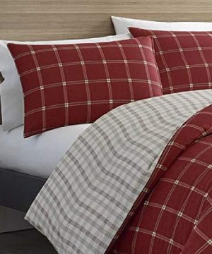 2 Pieces Cabin Lodge Farmhouse Comforter Set Twin Plush Soft Cozy Squares Pattern Checkered Rustic Bedding Flannel Weave Accent Classic Village White Grid Plaid Reversible Brown Red Comforter 0 1 300x360