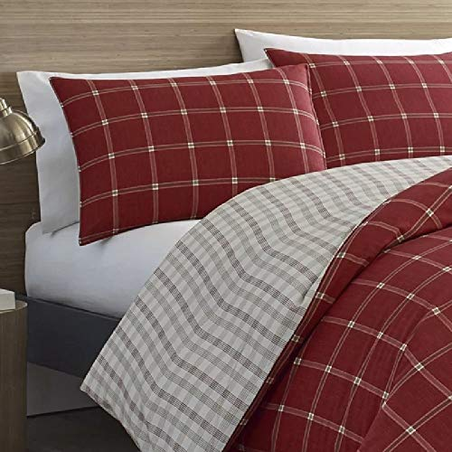 2 Pieces Cabin Lodge Farmhouse Comforter Set Twin Plush Soft Cozy Squares Pattern Checkered Rustic Bedding Flannel Weave Accent Classic Village White Grid Plaid Reversible Brown Red Comforter 0 1