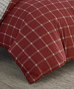 2 Pieces Cabin Lodge Farmhouse Comforter Set Twin Plush Soft Cozy Squares Pattern Checkered Rustic Bedding Flannel Weave Accent Classic Village White Grid Plaid Reversible Brown Red Comforter 0 2 300x360