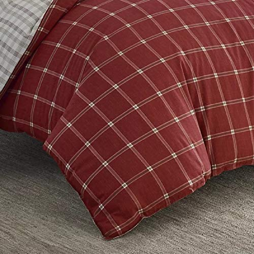 2 Pieces Cabin Lodge Farmhouse Comforter Set Twin Plush Soft Cozy Squares Pattern Checkered Rustic Bedding Flannel Weave Accent Classic Village White Grid Plaid Reversible Brown Red Comforter 0 2