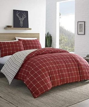 2 Pieces Cabin Lodge Farmhouse Comforter Set Twin Plush Soft Cozy Squares Pattern Checkered Rustic Bedding Flannel Weave Accent Classic Village White Grid Plaid Reversible Brown Red Comforter 0 300x360