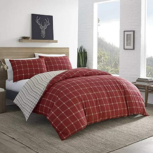 2 Pieces Cabin Lodge Farmhouse Comforter Set Twin Plush Soft Cozy Squares Pattern Checkered Rustic Bedding Flannel Weave Accent Classic Village White Grid Plaid Reversible Brown Red Comforter 0