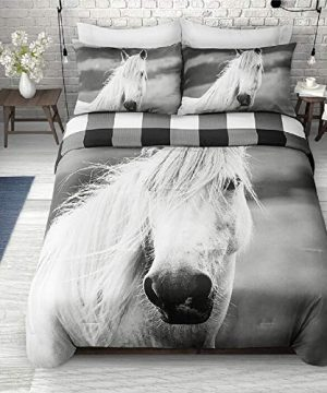 2 Pieces Twin Farmhouse Comforter Set Squares Pattern Buffalo Check Vibrant Rustic Bedding Classic Countryside Modern Wildlife White Black Plaid Grey Comforter Reversible Unique Style 0 0 300x360
