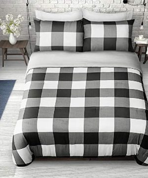 2 Pieces Twin Farmhouse Comforter Set Squares Pattern Buffalo Check Vibrant Rustic Bedding Classic Countryside Modern Wildlife White Black Plaid Grey Comforter Reversible Unique Style 0 300x360