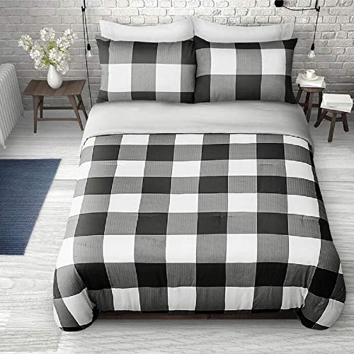 2 Pieces Twin Farmhouse Comforter Set Squares Pattern Buffalo Check Vibrant Rustic Bedding Classic Countryside Modern Wildlife White Black Plaid Grey Comforter Reversible Unique Style 0