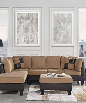 3 Piece Modern Reversible Microfiber Faux Leather Sectional Sofa Set W Ottoman Hazelnut 0 300x360