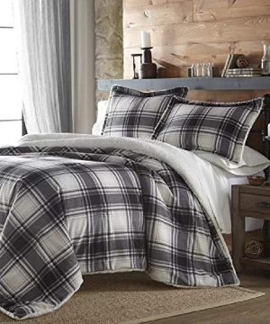 3 Pieces Luxury Rustic Cabin Lodge Farmhouse Comforter Set Queen Reversible Printed Polar Plush Soft Black White Grey Bedding Flannel Weave Village Plaid Tartan Stripes Solid Sherpa Comforter 0 300x360
