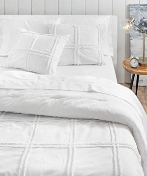 3 Pieces Modern Contemporary Farmhouse Comforter Set Queen Size Luxurious Warm Plush Cozy Soft Shabby Chic Bedding Chenille Texture Casual Classic Grid Pattern Solid Color Cotton White Comforter 0 300x360