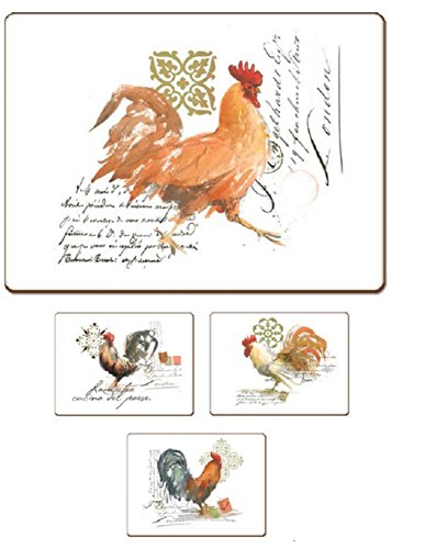 4 Cala Home Premium Hardboard Placemats Table Mats Watercolor Rooster 0