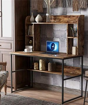 472L Home Office Computer Desk With Hutch Storage Shelves Computer Table Metal Frame Wooden Desktop New Modern Design 472L Rustic 0 300x360