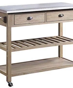 4D Concepts ALEX Kitchen Cart Acacia And Metal 0 300x360