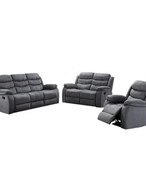AC Pacific 3 Piece Reclining Living Room Upholstered Sofa Set With 5 Loveseat Reclining Chair Grey 0 300x360