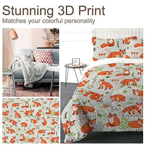 ARIGHTEX Super Soft Sherpa Comforter Bed Set 3D Lightweight Fuzzy Duvet Blankets Polyester Filler Bedspreads With 2 Pillow Shams Orange Fox Twin 0 3