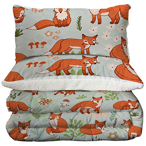 ARIGHTEX Super Soft Sherpa Comforter Bed Set 3D Lightweight Fuzzy Duvet Blankets Polyester Filler Bedspreads With 2 Pillow Shams Orange Fox Twin 0 5