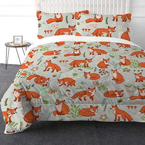 ARIGHTEX Super Soft Sherpa Comforter Bed Set 3D Lightweight Fuzzy Duvet Blankets Polyester Filler Bedspreads With 2 Pillow Shams Orange Fox Twin 0