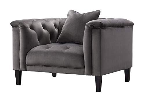 Acanva Luxury Vintage Tufted Velvet Living Room Family Sofa Set 5 Piece Dark Gray 0 2