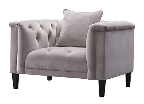 Acanva Luxury Vintage Tufted Velvet Living Room Family Sofa Set 5 Piece Dark Gray 0 3