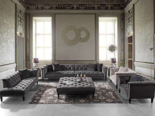 Acanva Luxury Vintage Tufted Velvet Living Room Family Sofa Set 5 Piece Dark Gray 0