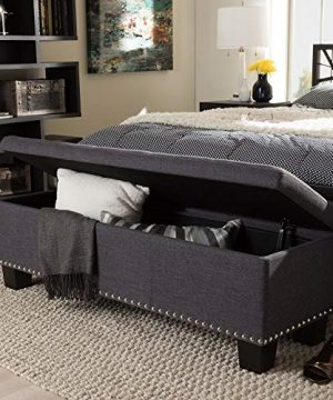 Albero Contemporary Dark Grey Storage Ottoman Bench With Durable Fabric Upholstery 0 300x360