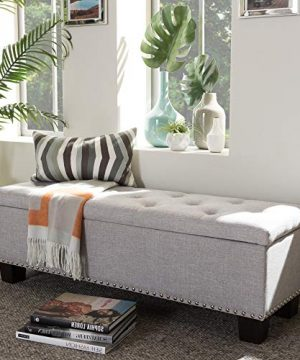 Albero Contemporary Grey Storage Ottoman Bench With Durable Fabric Upholstery 0 300x360