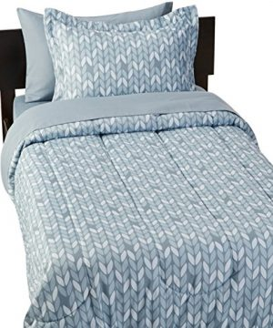 AmazonBasics 5 Piece Light Weight Microfiber Bed In A Bag Comforter Bedding Set Twin Or Twin XL Grey Leaf 0 0 300x360