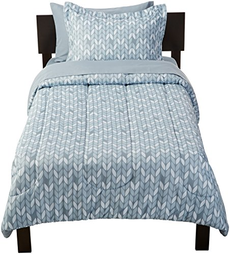 AmazonBasics 5 Piece Light Weight Microfiber Bed In A Bag Comforter Bedding Set Twin Or Twin XL Grey Leaf 0 1