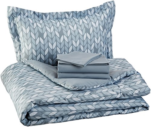 AmazonBasics 5 Piece Light Weight Microfiber Bed In A Bag Comforter Bedding Set Twin Or Twin XL Grey Leaf 0