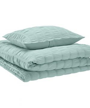 AmazonBasics Seersucker Comforter Set Premium Soft Easy Wash Microfiber TwinTwin XLSea Foam Green 0 0 300x360
