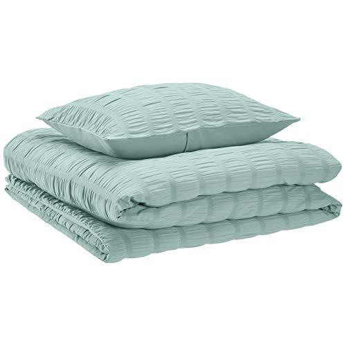 AmazonBasics Seersucker Comforter Set Premium Soft Easy Wash Microfiber TwinTwin XLSea Foam Green 0 0