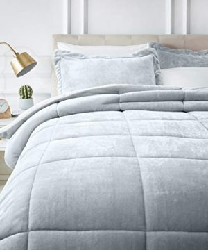 AmazonBasics Ultra Soft Micromink Sherpa Comforter Bed Set Full Or Queen Gray 3 Piece 0 300x360