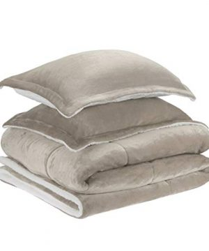 AmazonBasics Ultra Soft Micromink Sherpa Comforter Bed Set Full Or Queen Taupe 3 Piece 0 0 300x360
