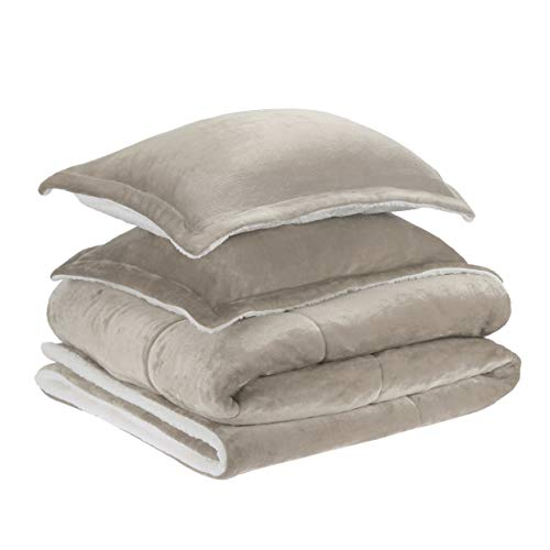 AmazonBasics Ultra Soft Micromink Sherpa Comforter Bed Set Full Or Queen Taupe 3 Piece 0 0