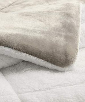 AmazonBasics Ultra Soft Micromink Sherpa Comforter Bed Set Full Or Queen Taupe 3 Piece 0 2 300x360