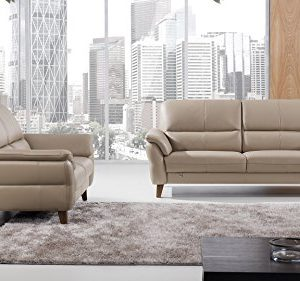 American Eagle Furniture 2 Piece King Collection Complete Living Room Italian Leather Sofa Set Tan 0 300x281