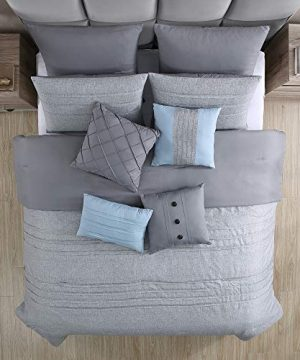 Amrapur Overseas 10 Piece Bryan Printed Comforter Set Queen Grey 0 1 300x360
