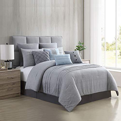 Amrapur Overseas 10 Piece Bryan Printed Comforter Set Queen Grey 0