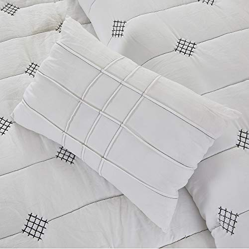 Amrapur Overseas 5 Piece Eve Embroidered Garment Washed Comforter Set Queen Ivory 0 3