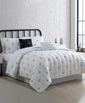 Amrapur Overseas 5 Piece Eve Embroidered Garment Washed Comforter Set Queen Ivory 0 300x360