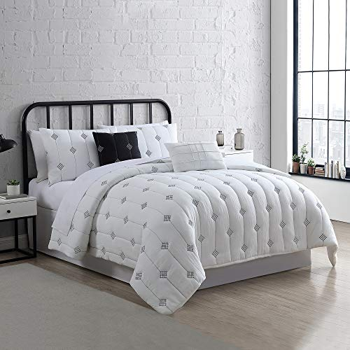 Amrapur Overseas 5 Piece Eve Embroidered Garment Washed Comforter Set Queen Ivory 0