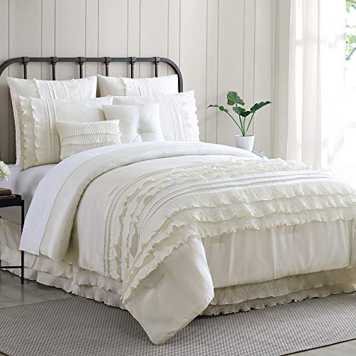 Amrapur Overseas Diana 8 Piece Embellished Comforter Set King Pearl White 0