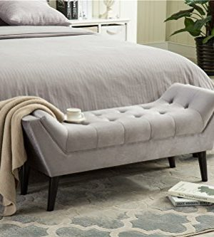 Andeworld Gray Fabric Bed Bench Upholstered Tufted Footstool Entryway Ottoman Bench Two Seaters 0 2 300x333