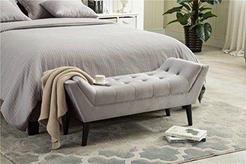 Andeworld Gray Fabric Bed Bench Upholstered Tufted Footstool Entryway Ottoman Bench Two Seaters 0 2